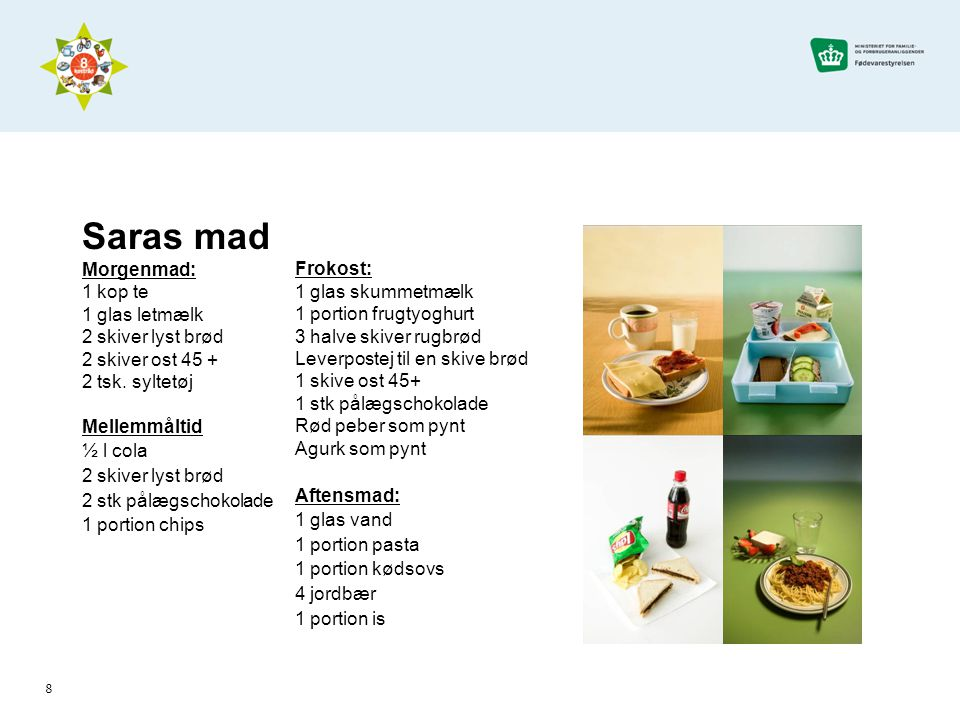 Saras mad Morgenmad: 1 kop te 1 glas letmælk 2 skiver lyst brød