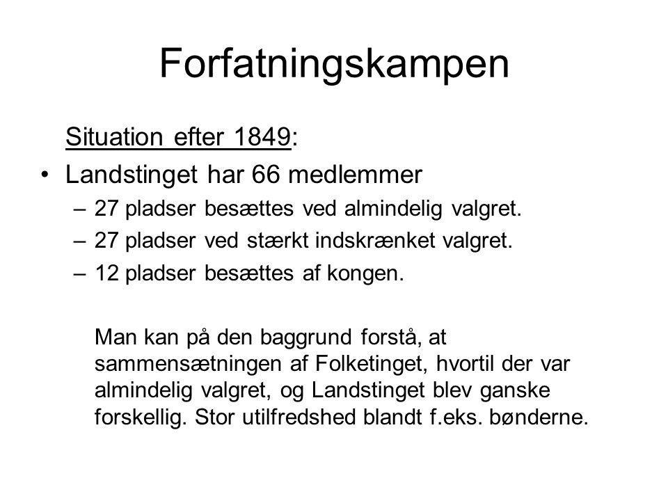 Forfatningskampen Situation efter 1849: Landstinget har 66 medlemmer