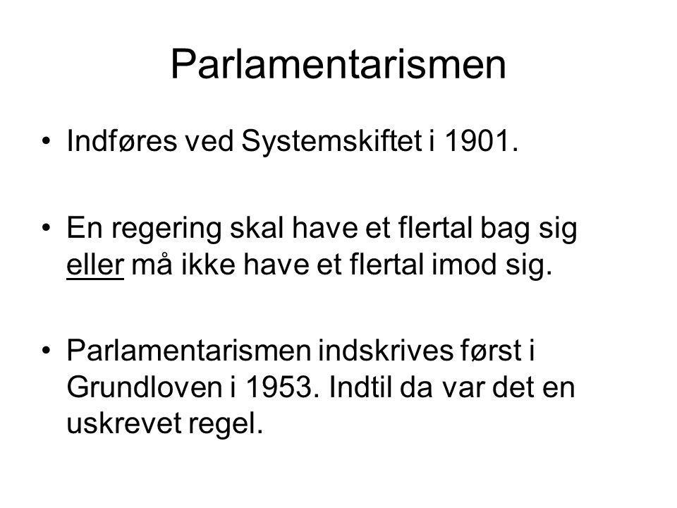 Parlamentarismen Indføres ved Systemskiftet i 1901.