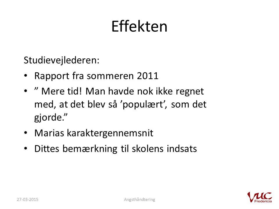 Effekten Studievejlederen: Rapport fra sommeren 2011