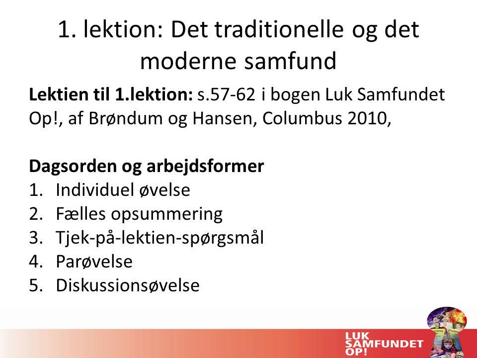 1. lektion: Det traditionelle og det moderne samfund