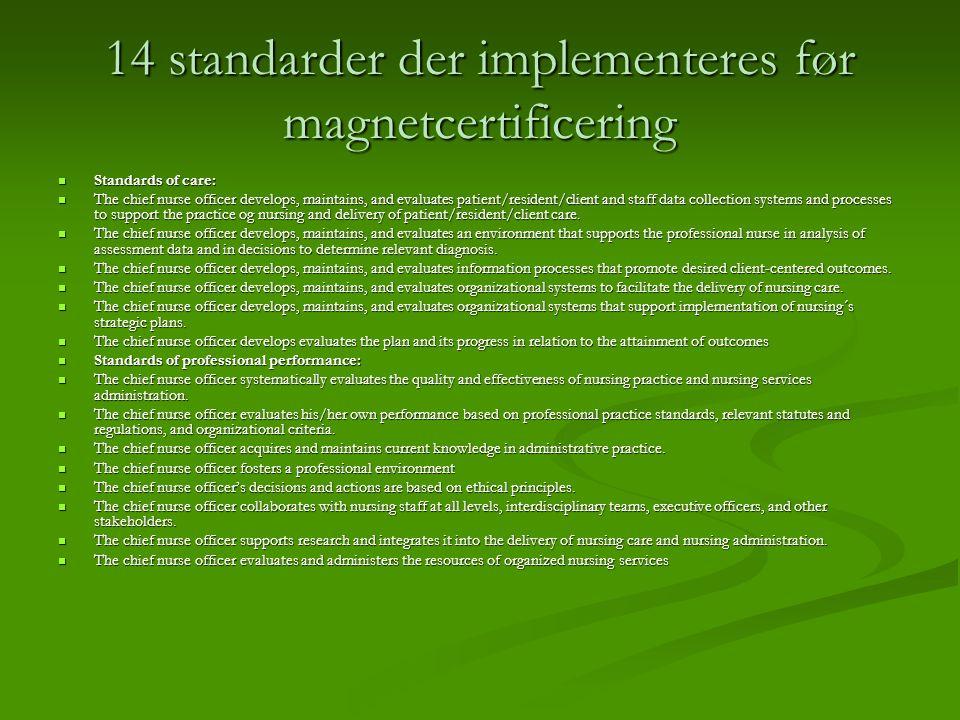 14 standarder der implementeres før magnetcertificering