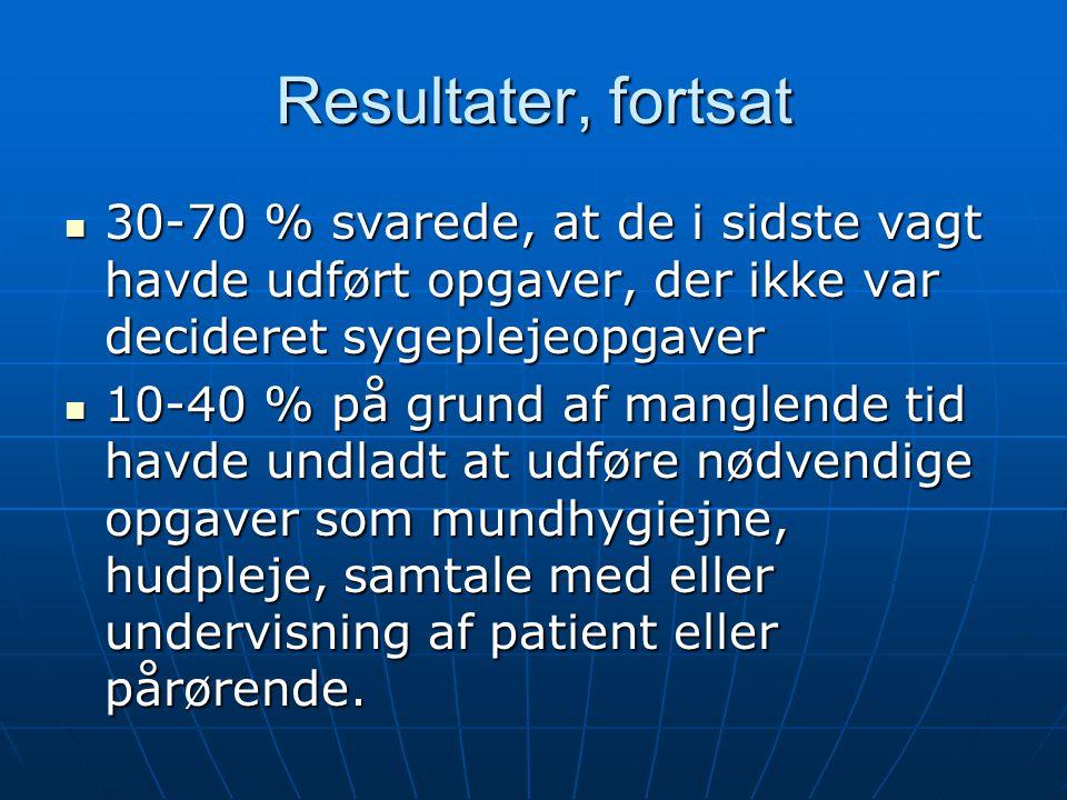 Resultater, fortsat 30-70 % svarede, at de i sidste vagt havde udført opgaver, der ikke var decideret sygeplejeopgaver.