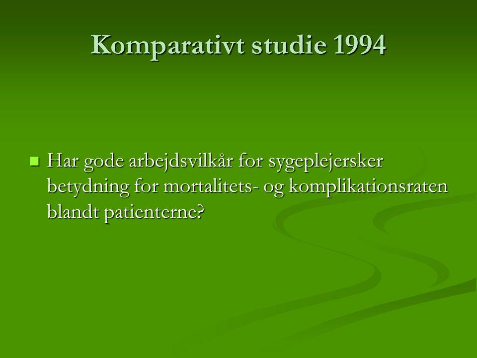 Komparativt studie 1994 Har gode arbejdsvilkår for sygeplejersker betydning for mortalitets- og komplikationsraten blandt patienterne