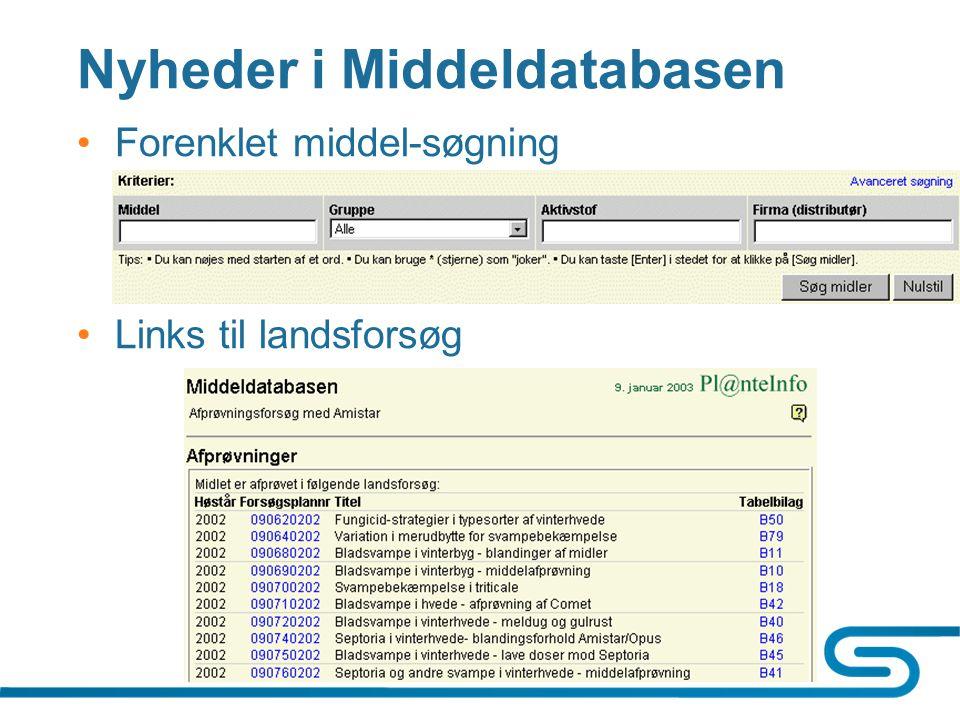Nyheder i Middeldatabasen