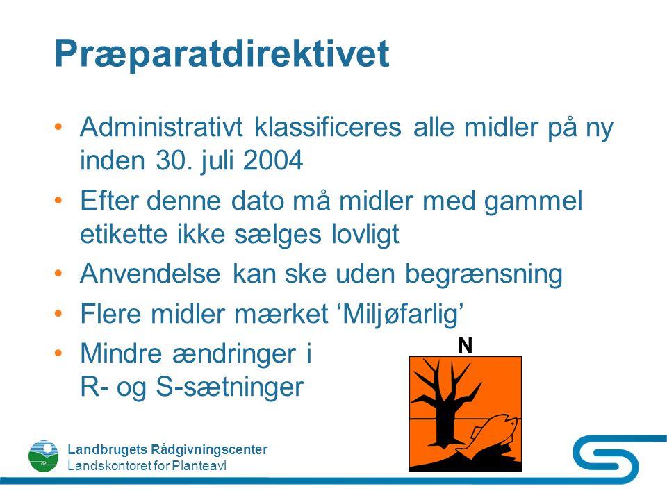 Præparatdirektivet Administrativt klassificeres alle midler på ny inden 30. juli 2004.