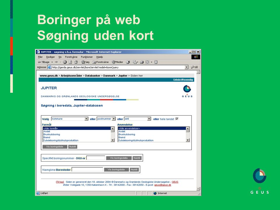 Boringer på web Søgning uden kort