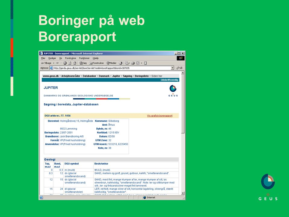 Boringer på web Borerapport