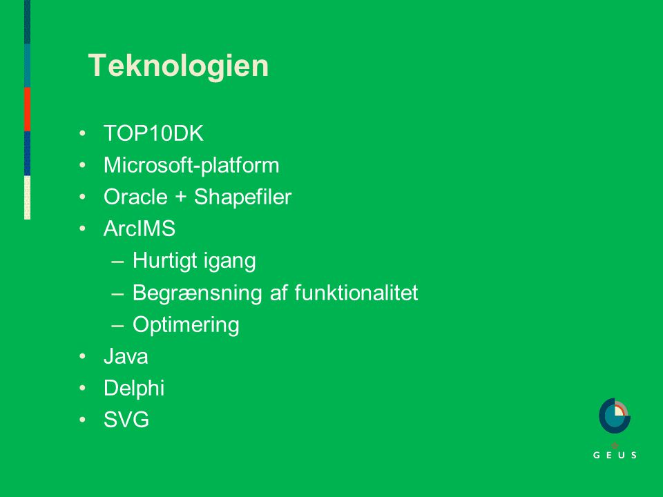 Teknologien TOP10DK Microsoft-platform Oracle + Shapefiler ArcIMS