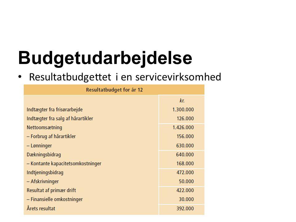 Budgetudarbejdelse Resultatbudgettet i en servicevirksomhed