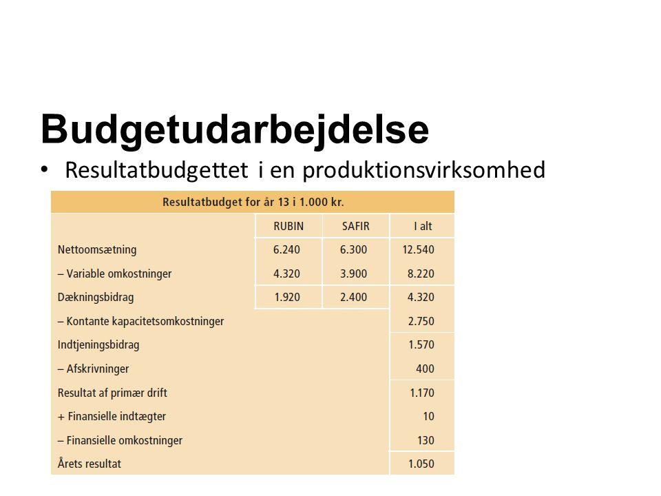 Budgetudarbejdelse Resultatbudgettet i en produktionsvirksomhed