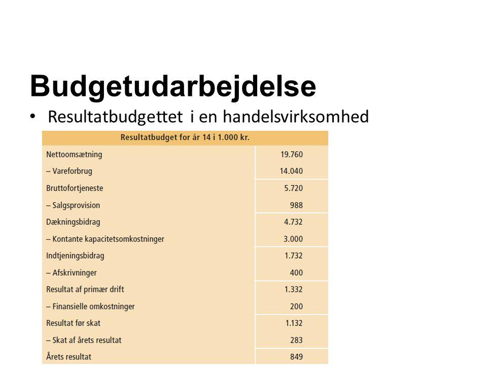 Budgetudarbejdelse Resultatbudgettet i en handelsvirksomhed