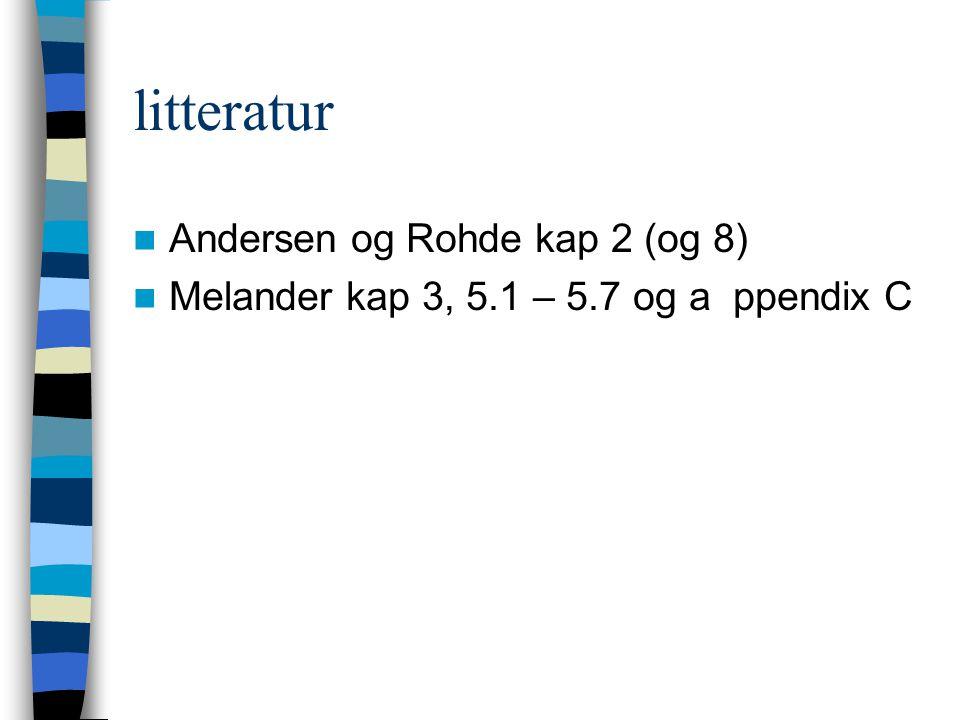 litteratur Andersen og Rohde kap 2 (og 8)