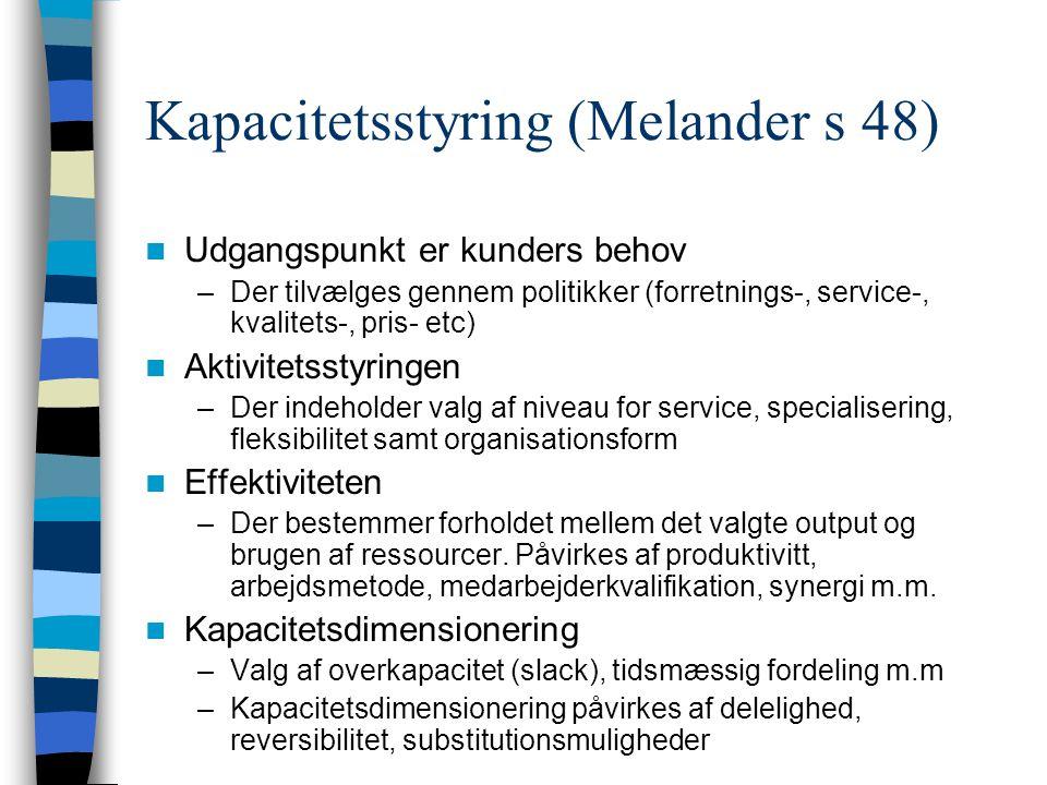 Kapacitetsstyring (Melander s 48)