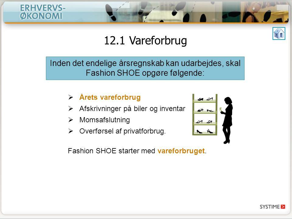 12.1 Vareforbrug Inden det endelige årsregnskab kan udarbejdes, skal Fashion SHOE opgøre følgende: Årets vareforbrug.