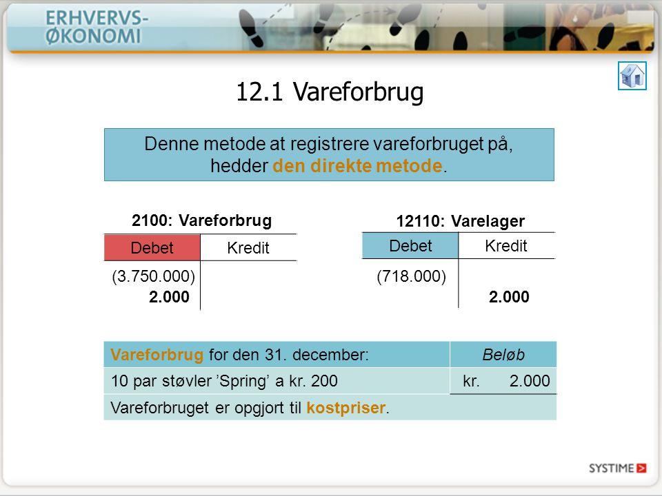 12.1 Vareforbrug Denne metode at registrere vareforbruget på, hedder den direkte metode. Debet. Kredit.