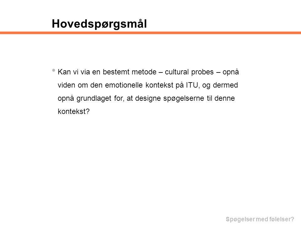 Hovedspørgsmål Kan vi via en bestemt metode – cultural probes – opnå
