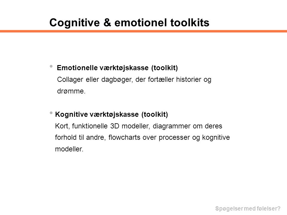 Cognitive & emotionel toolkits