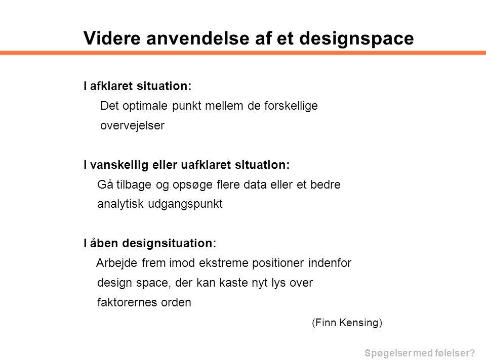 Videre anvendelse af et designspace