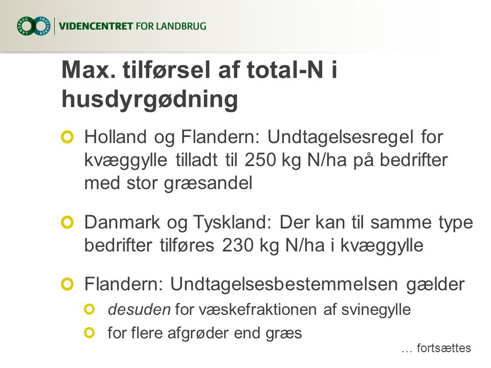 Max. tilførsel af total-N i husdyrgødning