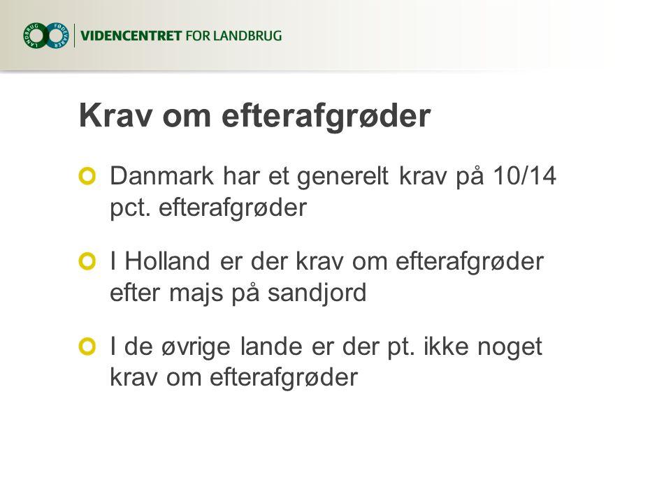 8. april 2017 Krav om efterafgrøder. Danmark har et generelt krav på 10/14 pct. efterafgrøder.