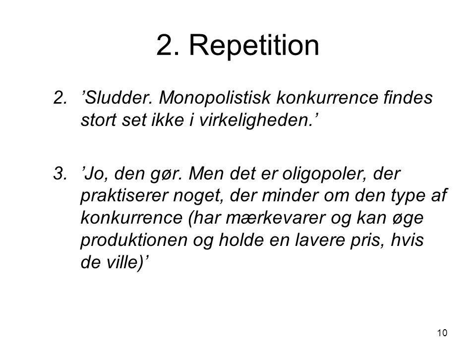 2. Repetition 'Sludder. Monopolistisk konkurrence findes stort set ikke i virkeligheden.'