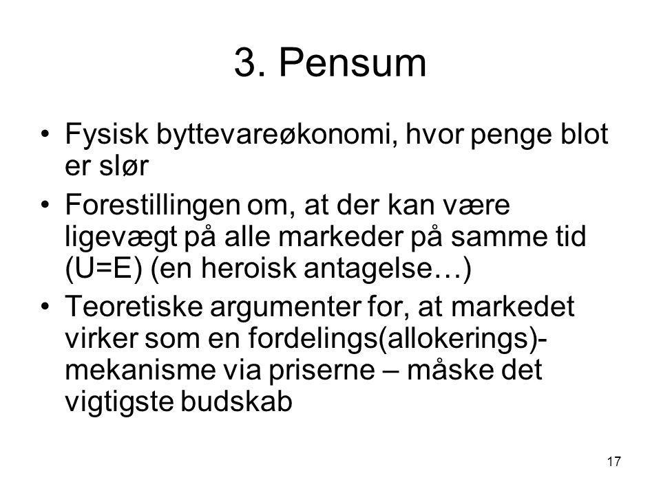 3. Pensum Fysisk byttevareøkonomi, hvor penge blot er slør