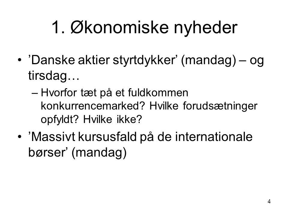 1. Økonomiske nyheder 'Danske aktier styrtdykker' (mandag) – og tirsdag…