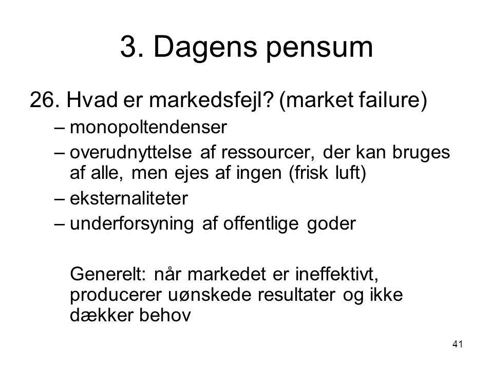 3. Dagens pensum 26. Hvad er markedsfejl (market failure)