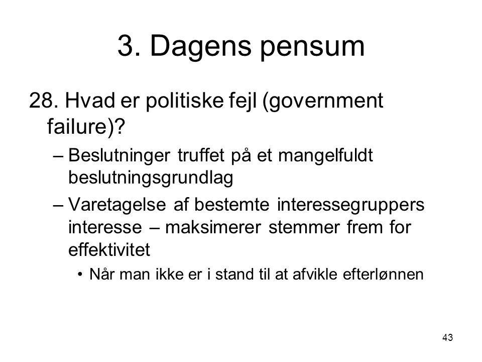 3. Dagens pensum 28. Hvad er politiske fejl (government failure)