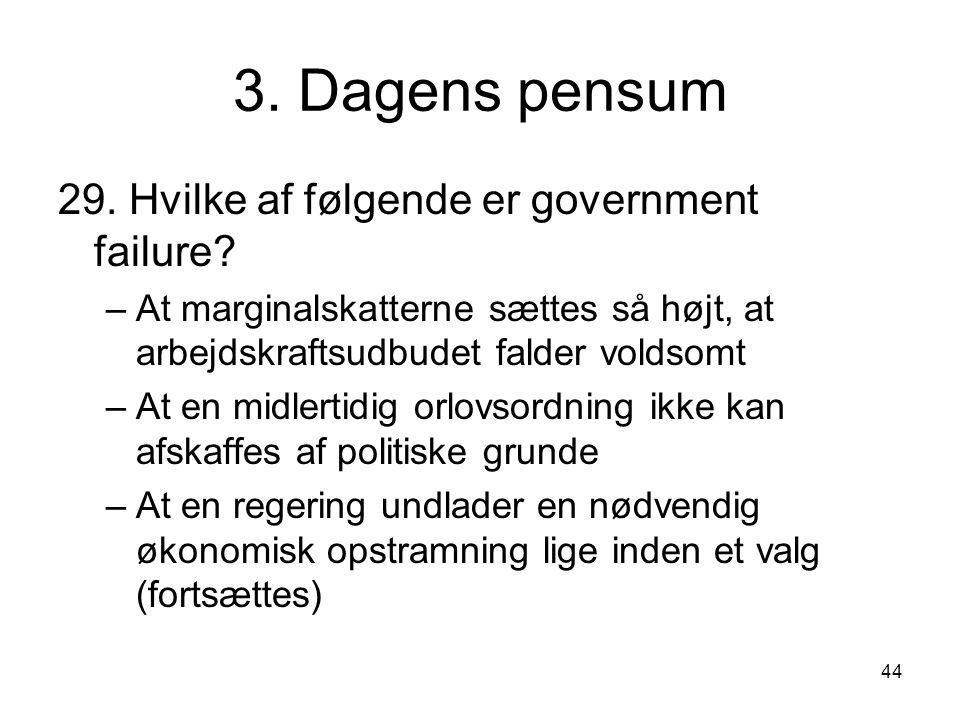 3. Dagens pensum 29. Hvilke af følgende er government failure