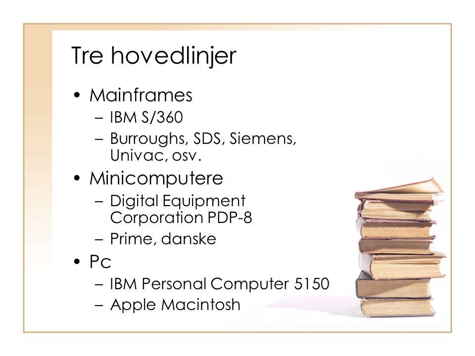 Tre hovedlinjer Mainframes Minicomputere Pc IBM S/360