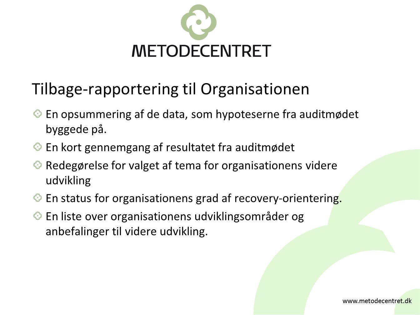 Tilbage-rapportering til Organisationen
