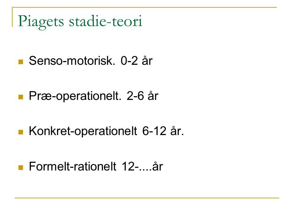Piagets stadie-teori Senso-motorisk. 0-2 år Præ-operationelt. 2-6 år