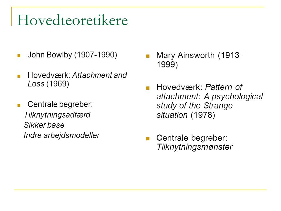 Hovedteoretikere Mary Ainsworth ( )