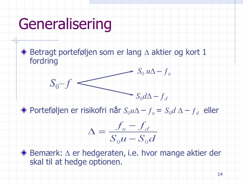 Generalisering Betragt porteføljen som er lang D aktier og kort 1 fordring. Porteføljen er risikofri når S0uD – ƒu = S0d D – ƒd eller.