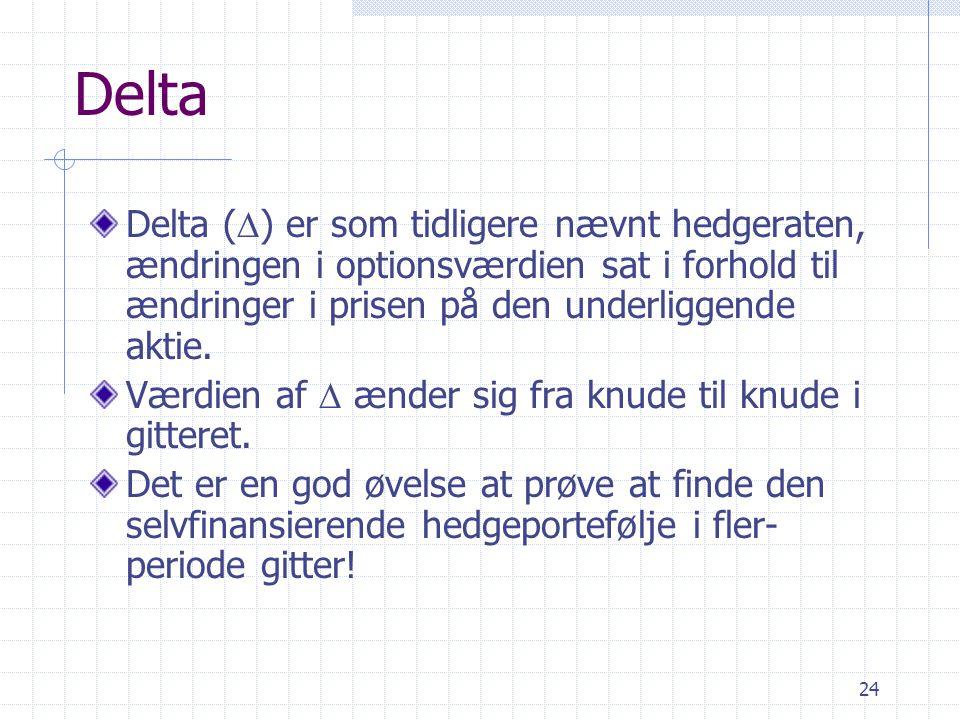 Delta Delta (D) er som tidligere nævnt hedgeraten, ændringen i optionsværdien sat i forhold til ændringer i prisen på den underliggende aktie.
