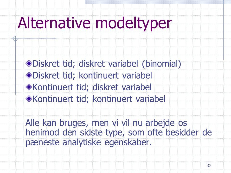 Alternative modeltyper
