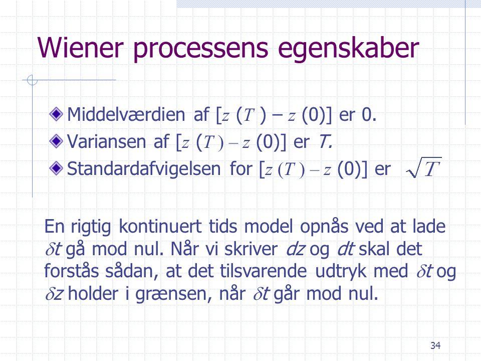 Wiener processens egenskaber