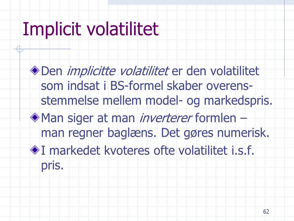 Implicit volatilitet Den implicitte volatilitet er den volatilitet som indsat i BS-formel skaber overens-stemmelse mellem model- og markedspris.