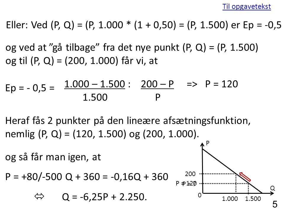 Eller: Ved (P, Q) = (P, 1.000 * (1 + 0,50) = (P, 1.500) er Ep = -0,5