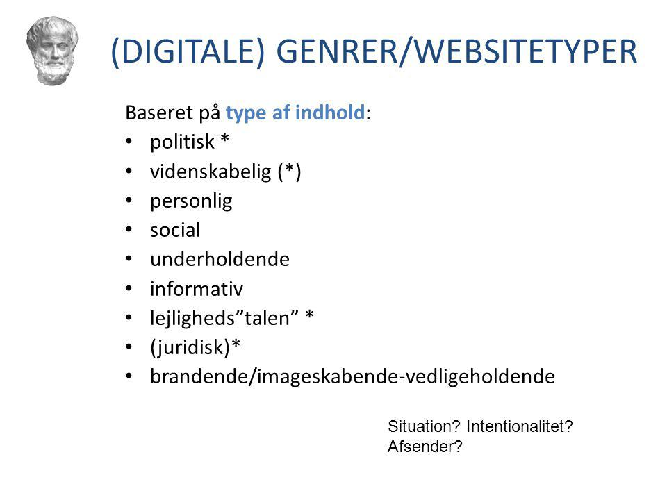 (DIGITALE) GENRER/WEBSITETYPER