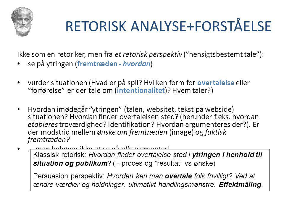 RETORISK ANALYSE+FORSTÅELSE