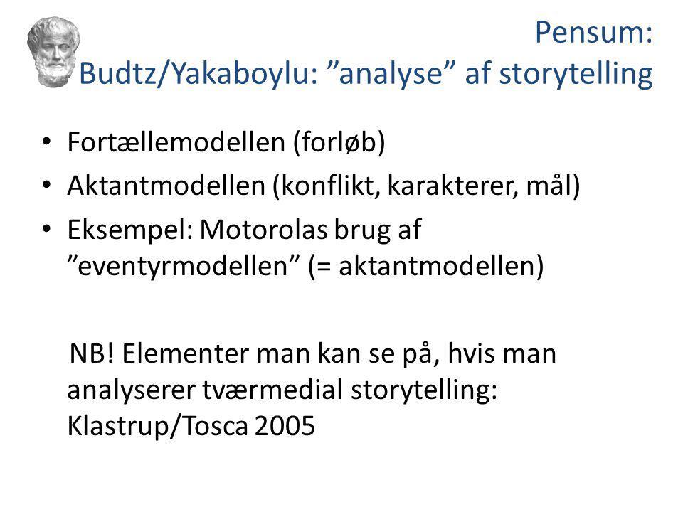 Pensum: Budtz/Yakaboylu: analyse af storytelling