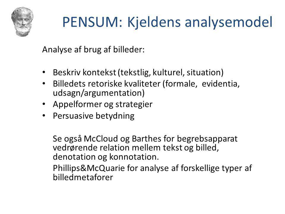 PENSUM: Kjeldens analysemodel