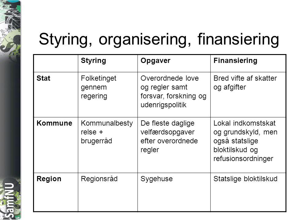 Styring, organisering, finansiering