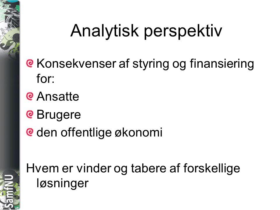 Analytisk perspektiv Konsekvenser af styring og finansiering for: