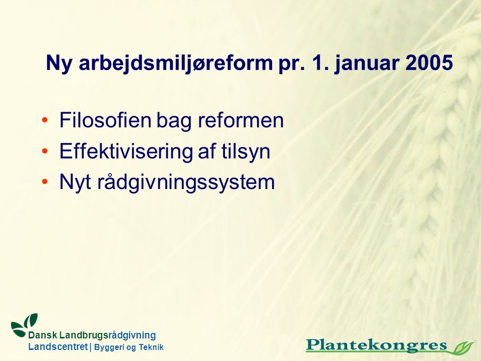 Ny arbejdsmiljøreform pr. 1. januar 2005