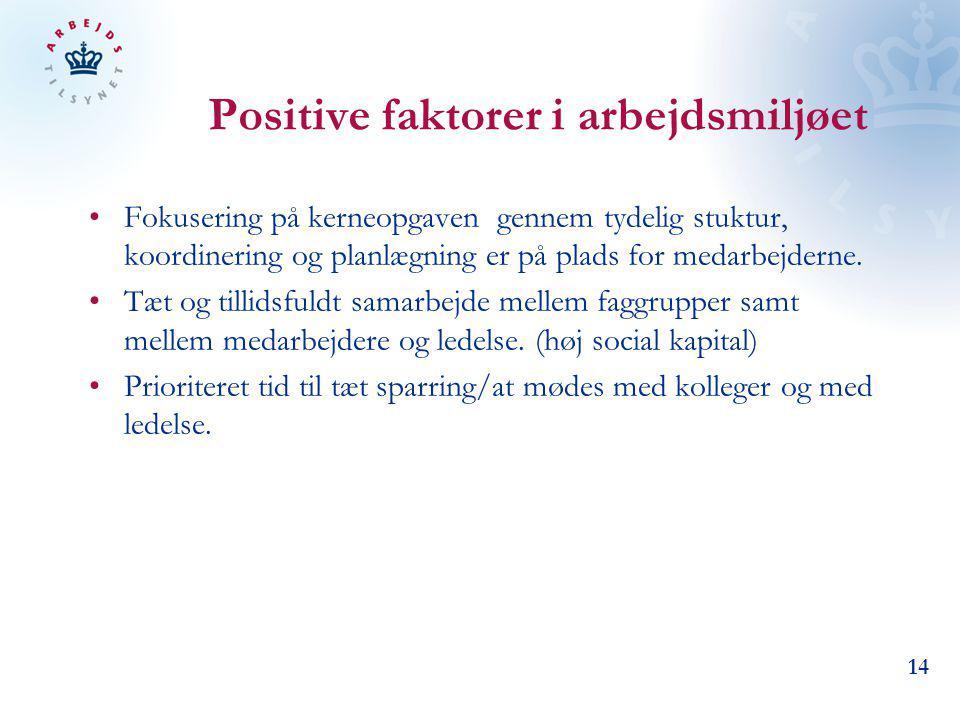 Positive faktorer i arbejdsmiljøet