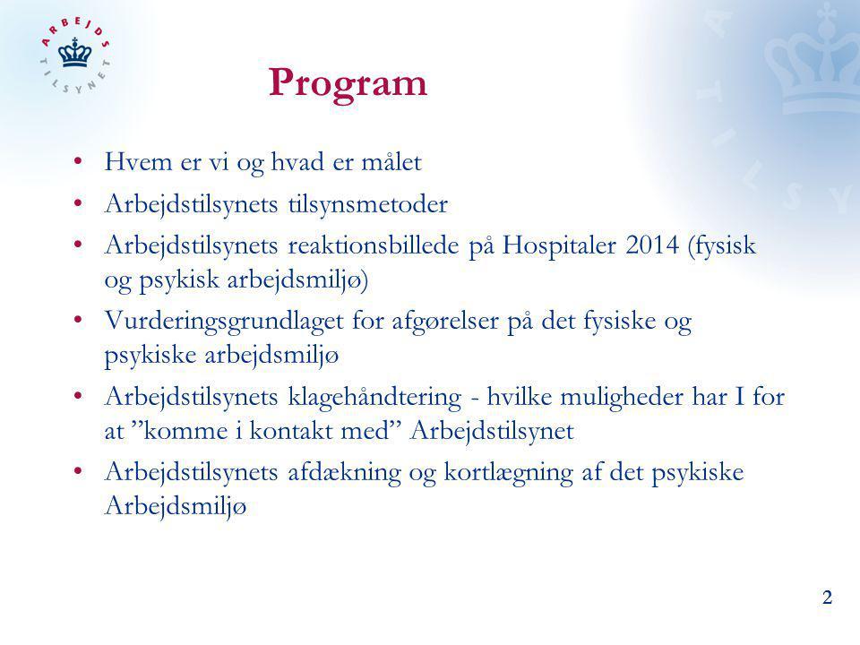 Program Hvem er vi og hvad er målet Arbejdstilsynets tilsynsmetoder